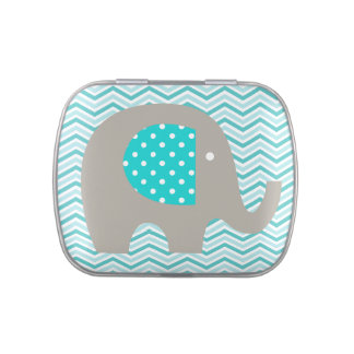 Elephant on Teal Chevron Tins and Jars w. Candy Candy Tins