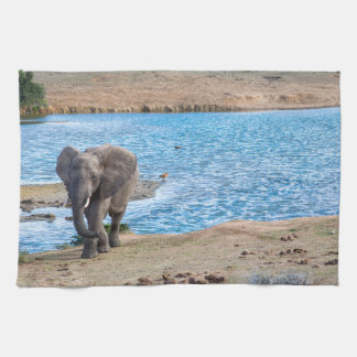 Elephant on the lake tea towel