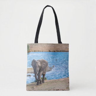 Elephant on the lake tote bag
