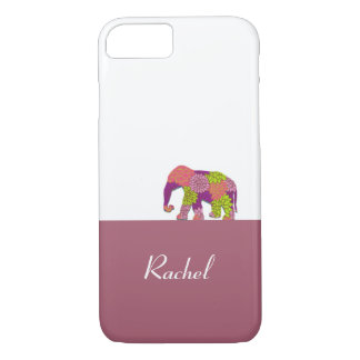 Elephant On the Road (Colorful Flowers) iPhone 7 Case