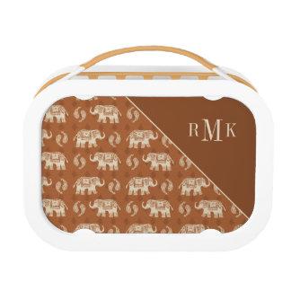 Elephant Orange Caravan Pattern Lunch Box