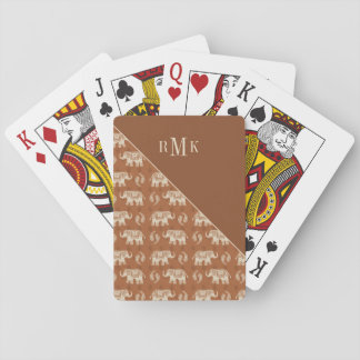Elephant Orange Caravan Pattern Playing Cards