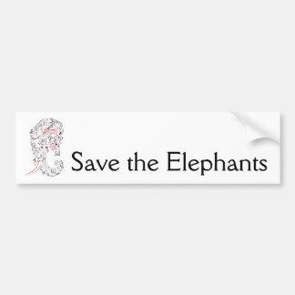 elephant ornate save the elephants bumper sticker