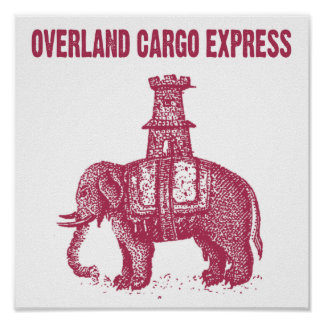 Elephant Overland Cargo Express Poster