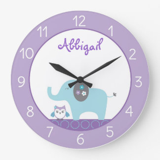 Elephant Owl Personalized Clock