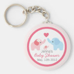 Elephant Parents and Baby Shower Basic Round Button Key Ring