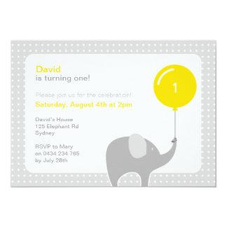 Elephant Party Invitation, Yellow & Grey Card