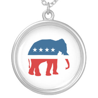 ELEPHANT PARTY ROUND PENDANT NECKLACE
