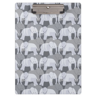 Elephant Pattern Clipboard - Grey