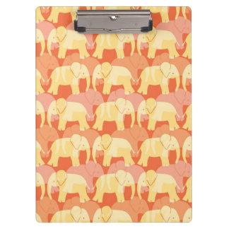 Elephant Pattern Clipboard - Orange