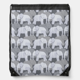 Elephant Pattern Drawstring Backpack - Grey