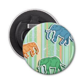 Elephant Pattern On Green Stripes