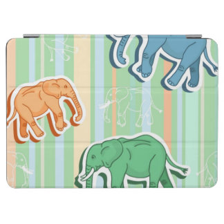 Elephant Pattern On Green Stripes iPad Air Cover