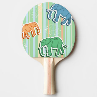 Elephant Pattern On Green Stripes Ping Pong Paddle