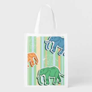 Elephant Pattern On Green Stripes Reusable Grocery Bag