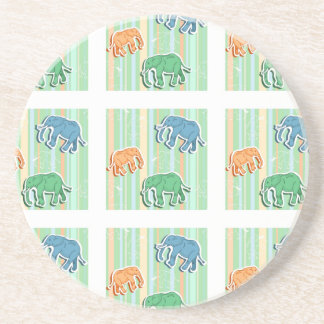 Elephant Pattern On Green Stripes Sandstone Coaster