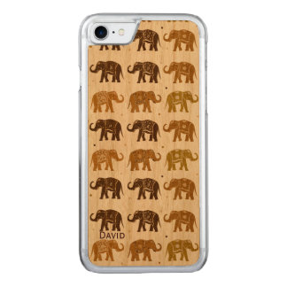 Elephant Pattern Wooden iPhone 6 Carved iPhone 7 Case