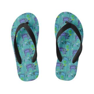 Elephant Patterned Children's Flip-Flops Kid's Flip Flops