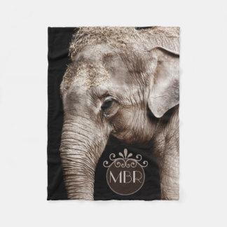 Elephant Photo Image Monogram Fleece Blanket