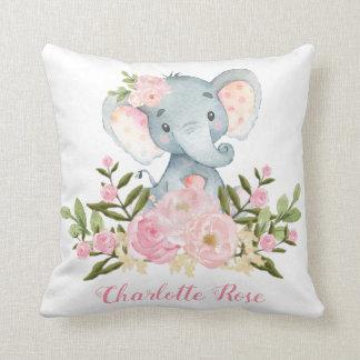 Elephant Pink Flowers Baby Girl Nursery Decor Cushion