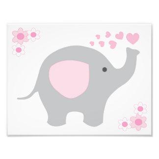 Elephant Pink Grey Gray Nursery Baby Girl Wall Art Art Photo