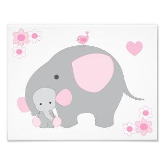 Elephant Pink Grey Gray Nursery Baby Girl Wall Art Photo Art