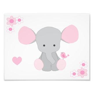 Elephant Pink Grey Gray Nursery Baby Girl Wall Art Photo Print