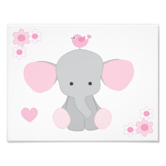 Elephant Pink Grey Gray Nursery Baby Girl Wall Art Photograph