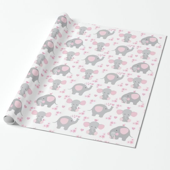 Elephant Pink Grey Safari Animal Baby Girl Shower