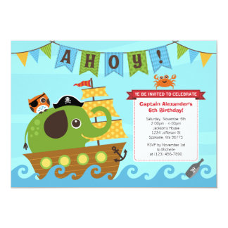Elephant Pirate and Owl Birthday Invitation