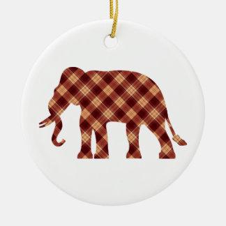 Elephant plaid christmas ornament
