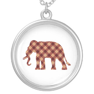 Elephant plaid silver plated necklace