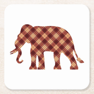 Elephant plaid square paper coaster