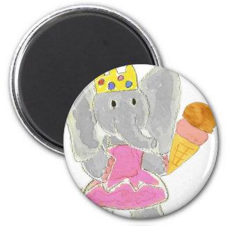 Elephant Princess Ice Cream 6 Cm Round Magnet