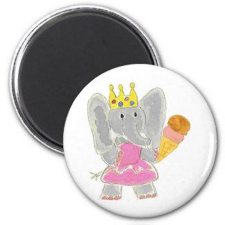 Elephant Princess Ice Cream Refrigerator Magnet