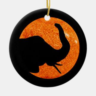 Elephant Profile Solar Eclipse Christmas Ornament