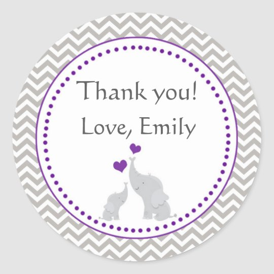 Elephant Purple Grey Baby Shower Favour Label