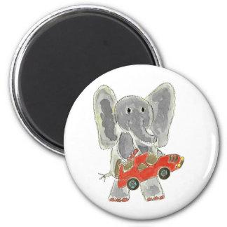 Elephant Racecar 6 Cm Round Magnet