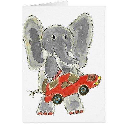 Elephant Racecar Greeting Card