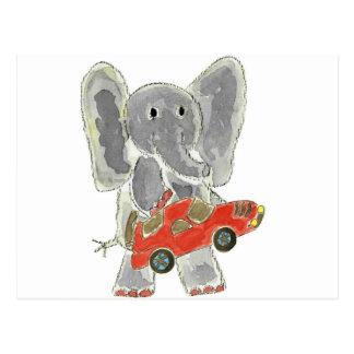Elephant Racecar Postcard