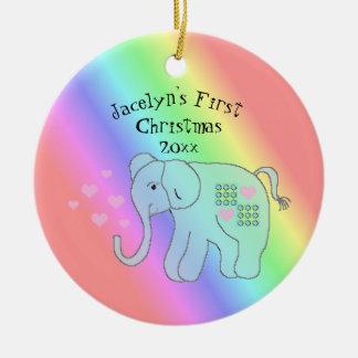 Elephant Rainbow Colors Baby's First Christmas Christmas Ornament