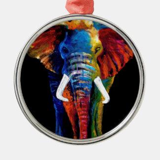 ELEPHANT RETRO STYLE Silver-Colored ROUND DECORATION