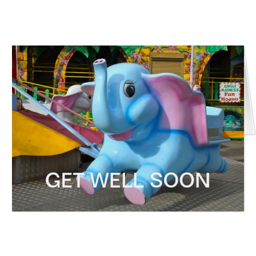Elephant Ride at a Funfair Get Well Soon Card