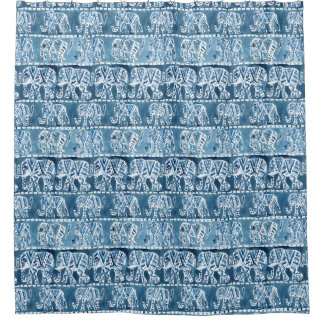 ELEPHANT SAFARI Boho Tribal Indigo Watercolor Shower Curtain