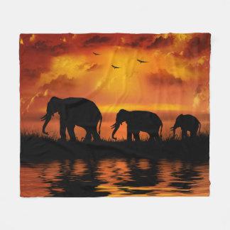 Elephant Safari Fleece Blanket