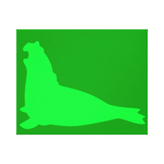 Elephant Seal Canvas Print Green