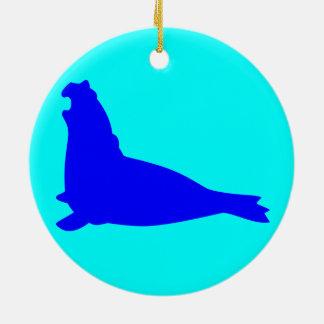 Elephant Seal Ornament Blue