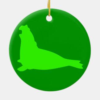 Elephant Seal Ornament Green