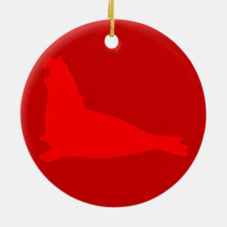 Elephant Seal Ornament Red