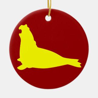 Elephant Seal Ornament Yellow